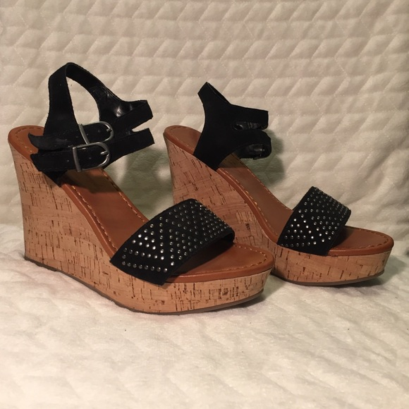 391f39a8c5a American Eagle Black Studded Double Strap Wedges