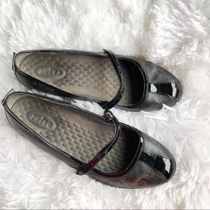 Privo Black Leather Maryjane Flats With Design 9.5