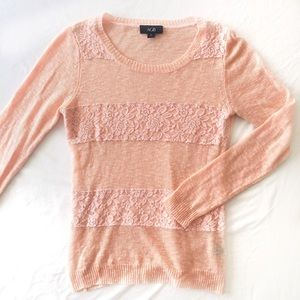 Sweaters - Blush pink lace material sweater
