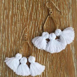 White Tassel Earrings hand made