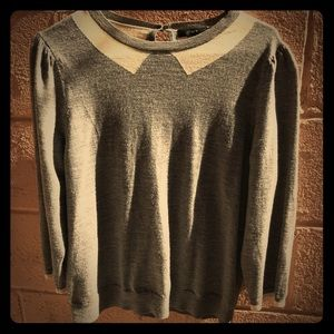 3/4 sleeve grey wool sweater with collar detail
