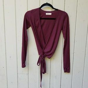 Hollister wrap crop tie top