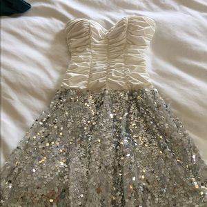 Silver sequin halter dress