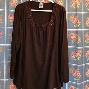 Just my size brown long sleeves top 4X embellished