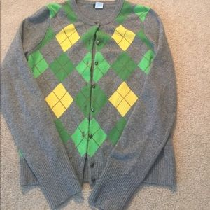 J. Crew wool gray argyle cardigan size small