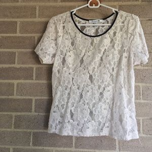 Short Sleeve Sheer Floral Lace Blouse
