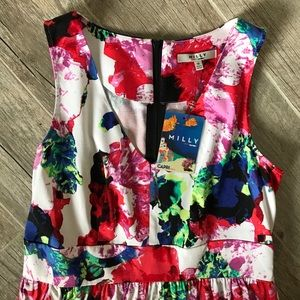 Milly Floral Fit and Flare dress