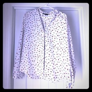 Long Sleeve Blouse with Lip Print