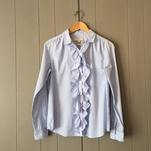 Loft Blue Long Sleeve Oxford Ruffle Button Down ✨