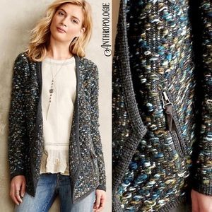 ANTHROPOLOGIE Jacquard sweater jacket by Moth