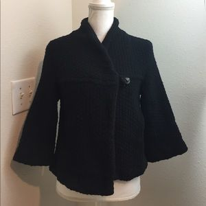 Free People One Button Black Cape Jacket