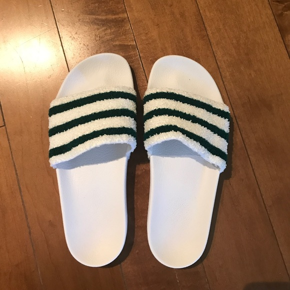 low priced c8d55 de2b6 adidas Shoes - Adidas adilette slide greenwhite terry cloth 8