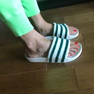 10d8c082401ea adidas Shoes - Adidas adilette slide green white terry cloth 8