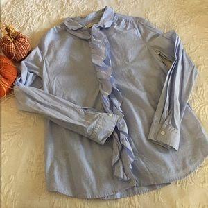 Loft Light Chambray Ruffle Shirt M