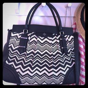 Vera Wang knit leather purse crossbody w handles