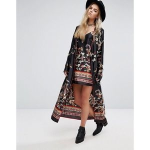 Black Satin Printed Long Sleeve Kimono