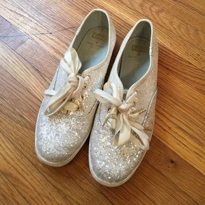Kate Spade for KEDS White Sparkle Sneakers