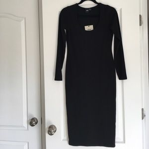 Long sleeve body con midi dress