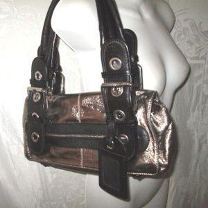 New CHLOE Small Bronze Foil & Black Leather Purse