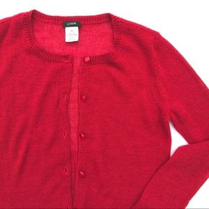 J. Crew Bling Button Alpaca Cardigan in Cherry Red