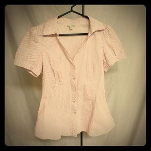 Anthropologie pink & white striped button top.