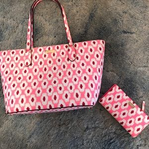Kate Spade 'Dally Laurel Way' Printed Tote& Wallet