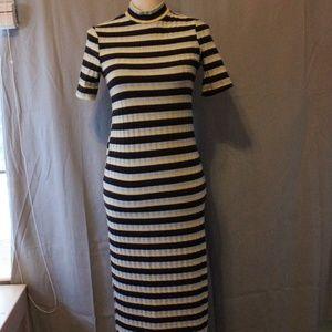 Zara Midi Sweater Dress Stripe Mock Neck Knit M