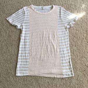J Crew Linen Paneled T-Shirt Sz Medium