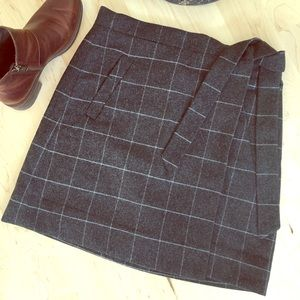 J.Crew Grey Checked Wrap Skirt