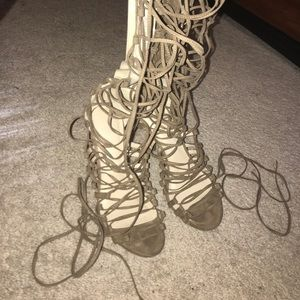 Knee-high Lace up Heel