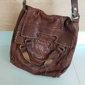 Lucky Brand brown Italian leather travel bag.