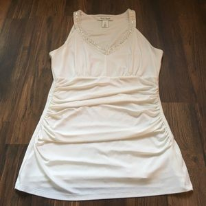 Ruched white tank chic and classy