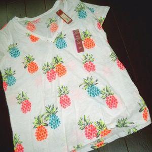 Merona SS  V-Neck Tee Tropical Pineapples Size XXL