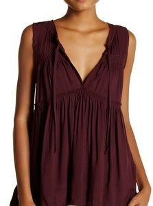 Melrose and Market Tie Neck Tiered Blouse Burgundy