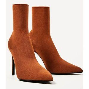 Zara Terracotta color Sock Style Ankle Boot