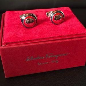 Set of Ferragamo Cufflinks - Silver, Blue & Red
