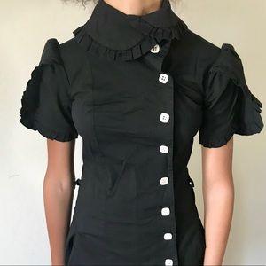 Black Shabby Apple Mid Length Dress.