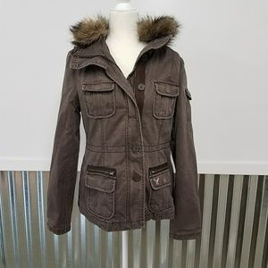 American Eagle Outfitters Fall Canvas Jacket w Fur