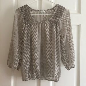 Banana Republic Gray and White Blouse