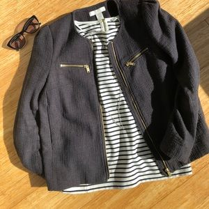H&M blue blazer with gold zippers