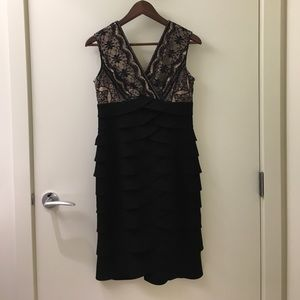 Black dress with lace and a nude underlay
