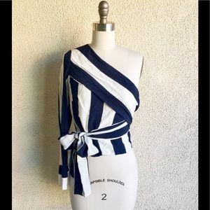 Zara Trafaluc One Shoulder Navy Stripe Blouse XS