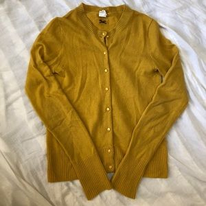 J. Crew mustard gold cashmere cardigan sweater