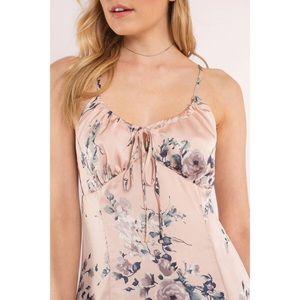 Dresses - Pink Satin Floral Print Mini Dress