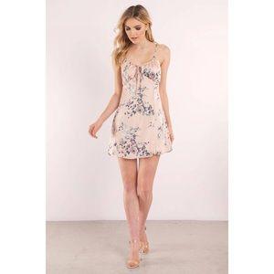 Dresses - Pink Satin Floral Print Mini Dress