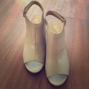Cream/beige open toe booties