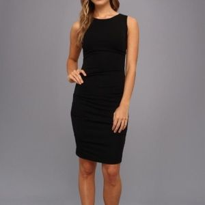 Nicole Miller Lauren Ruched Black Sheath Dress