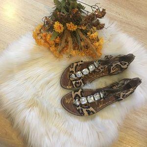 Sam Edelman Jeweled Leopard Print Sandals Sz 10