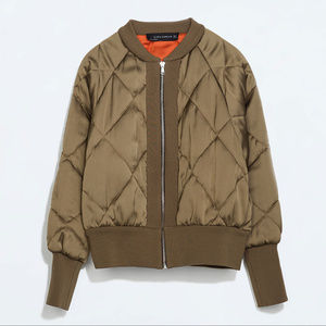 Zara Short Quilted Padded Bomber Jacket Olive XS