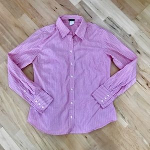 J. Crew Women's Pink/White Striped Button Up Top